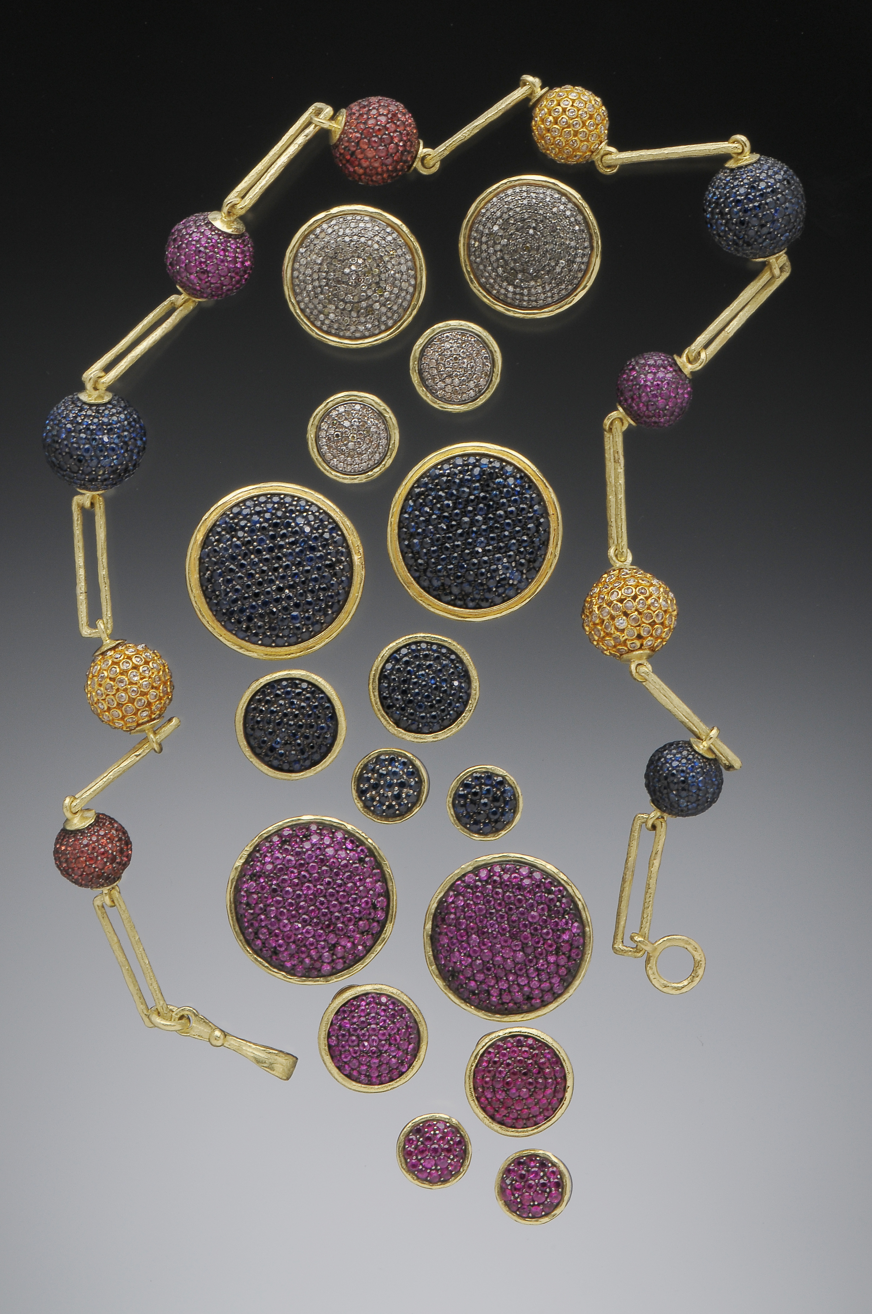 Sapphire & Diamond Pave Ball Necklac