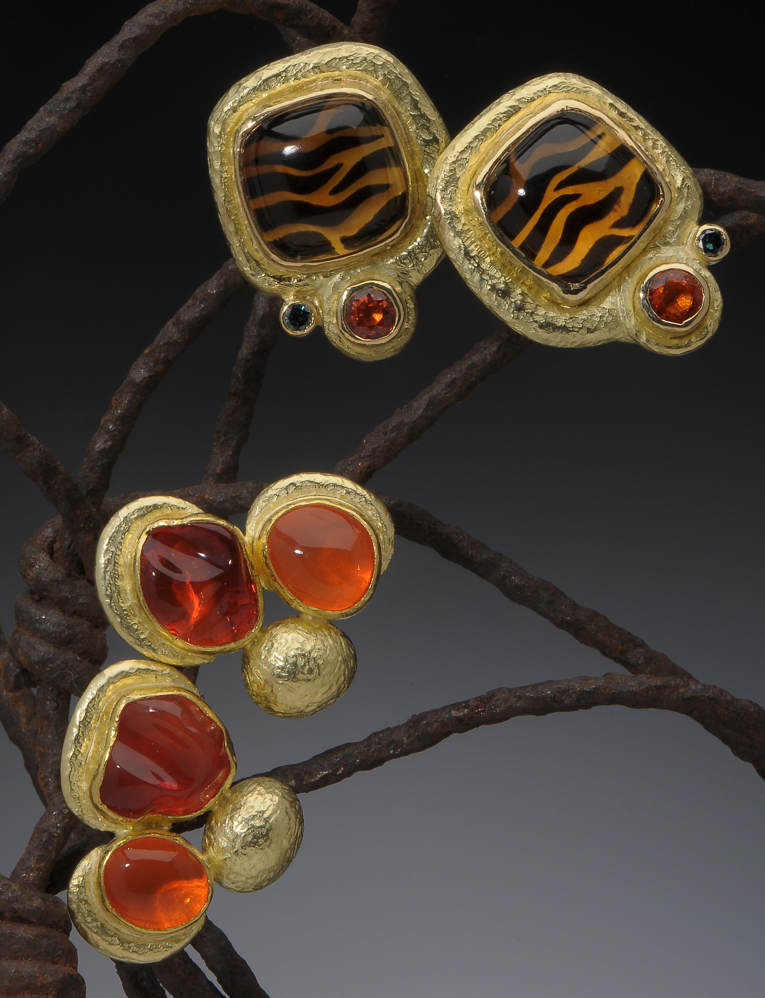 Tiger stripe & Fire Opal Earrings