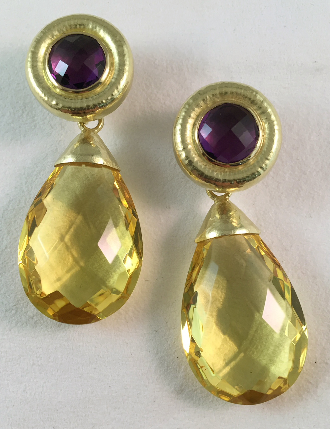 Amethyst + Amber Earrings and Drops