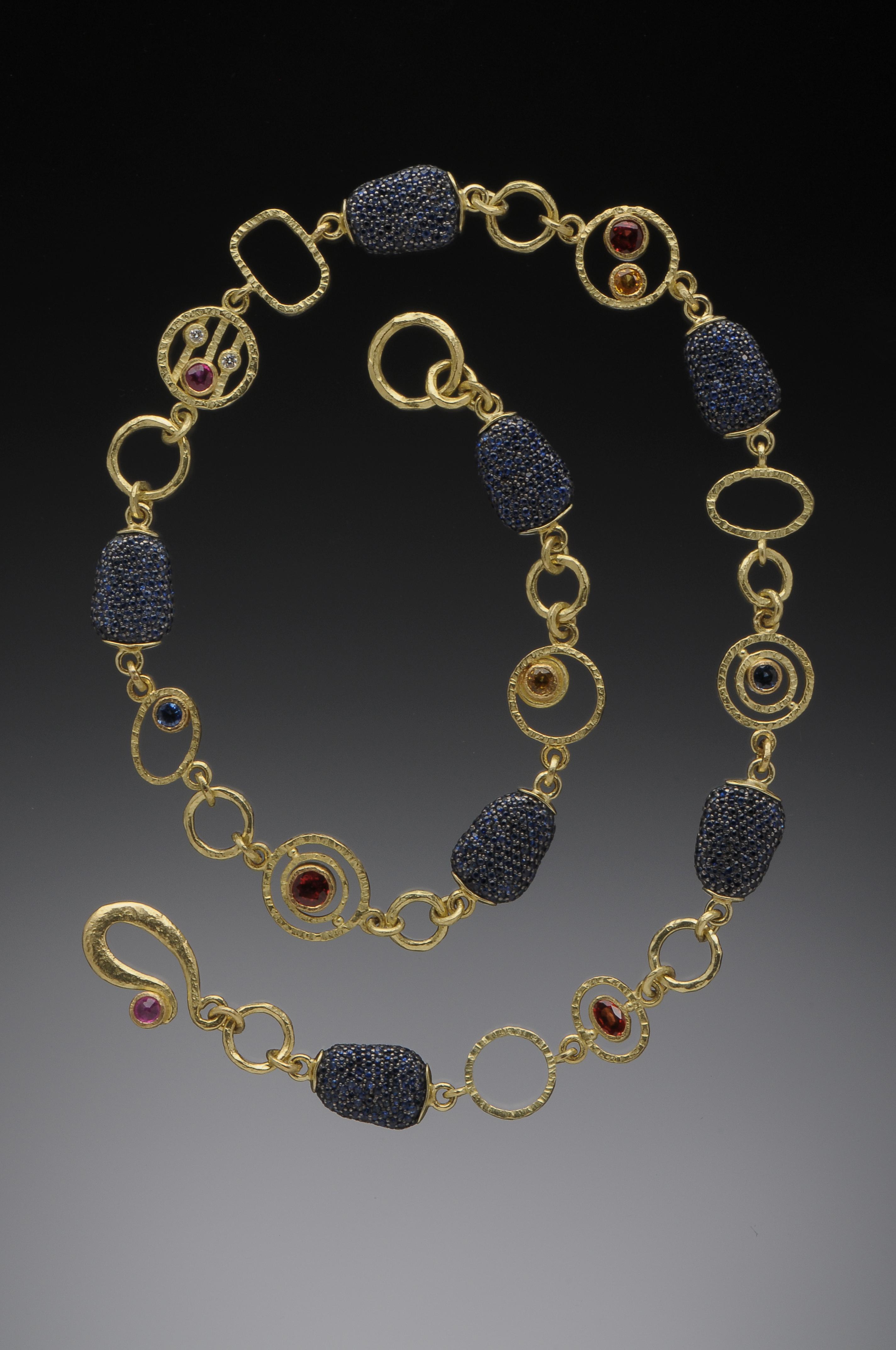 Flat Blue Sapphire Pave necklace