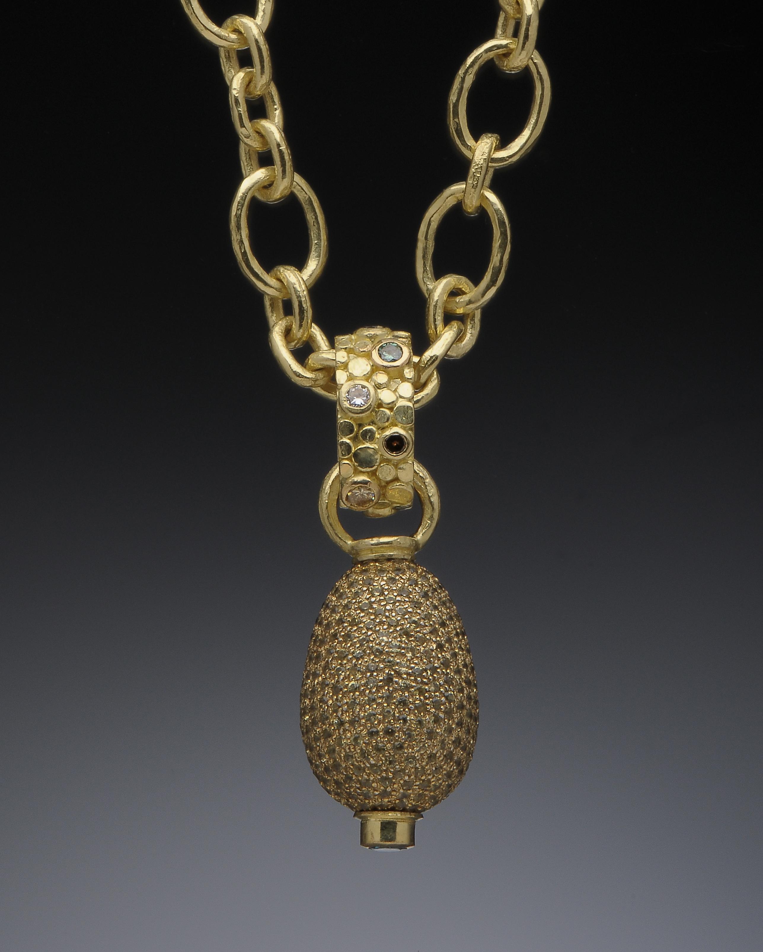Sapphire Pavé Diamond Pendant