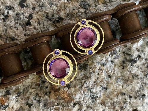 Amethyst Earrings with Purple