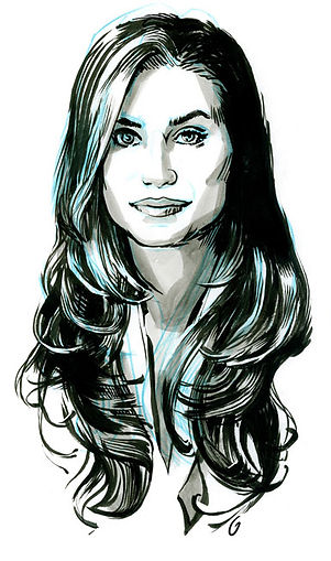 Meg-Sharpe, black and white portrait in ink by Graham Smith