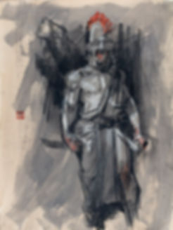 drawing of a Roman soldier, model Yoni Baker artist Graham Smith