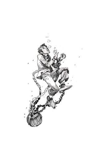 book tight sketch drowning man