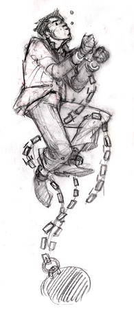 book sketch drowning man