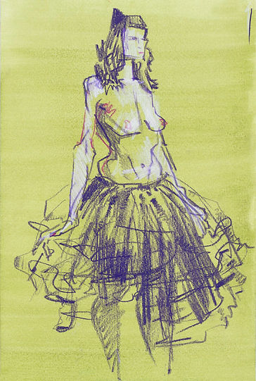 ballerina drawings on green by Graham Smith