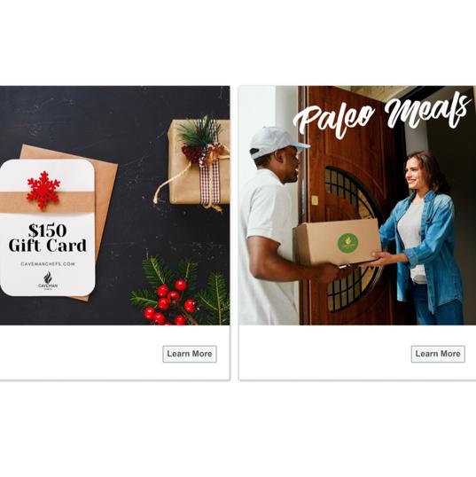 Caveman Chefs Carousel Ad - Facebook