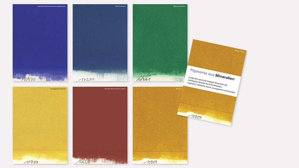 Postkartenset – Pigmente aus Mineralien