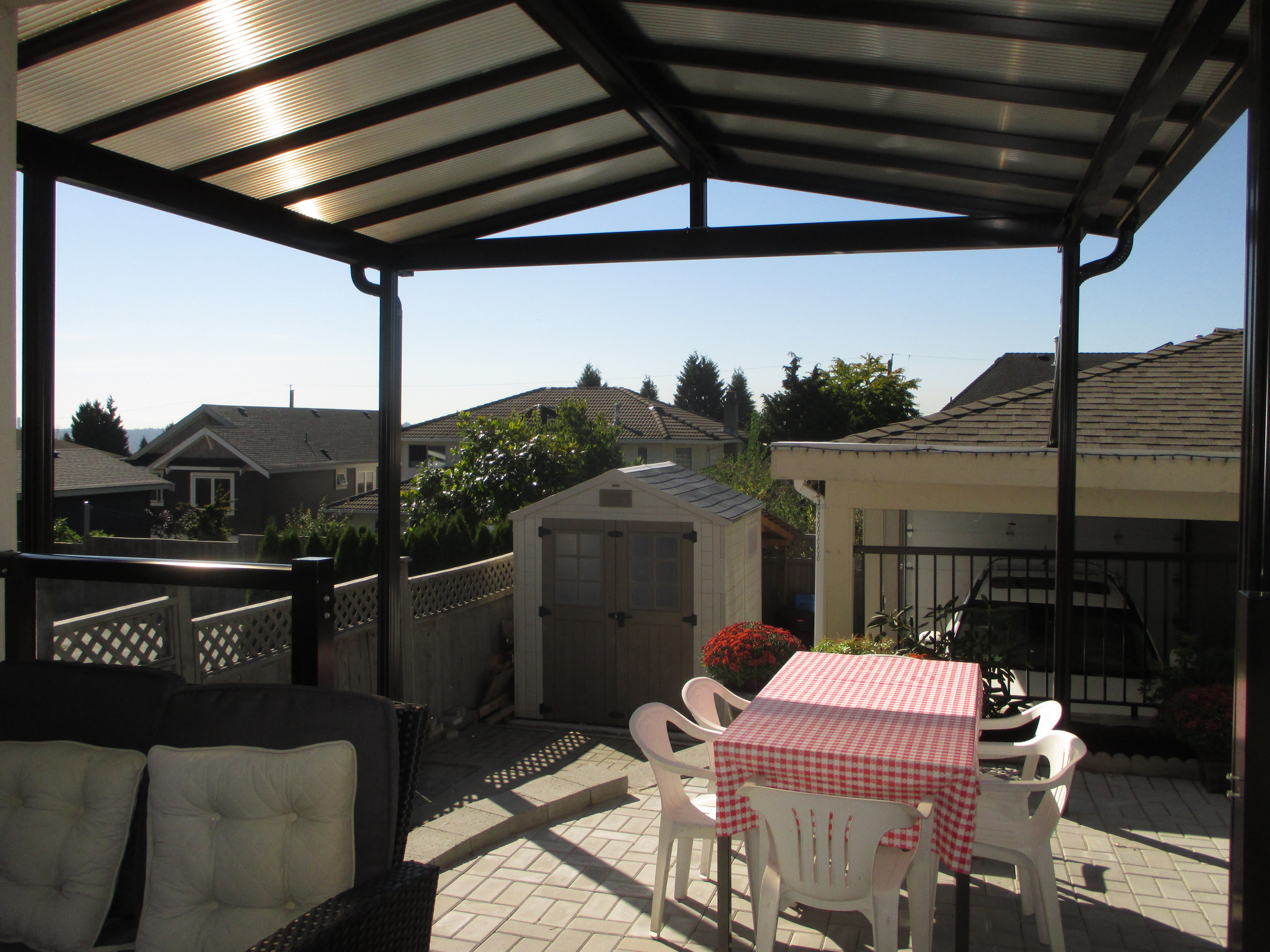 Peaked Bronze Acrylic Patio Cover