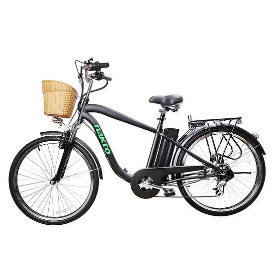 "NAKTO City Electric Bicycle Men 26"" Camel Black with Plastic Basket"