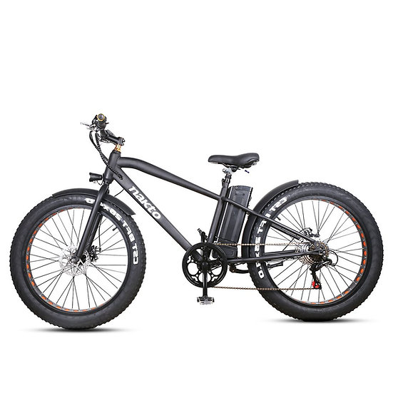 """NAKTO Fat Tire Electric Bicycle 26"""" Cruise(Black)"""