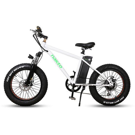 "NAKTO Fat Tire Electric Bicycle 20"" MINI CRUISER White"