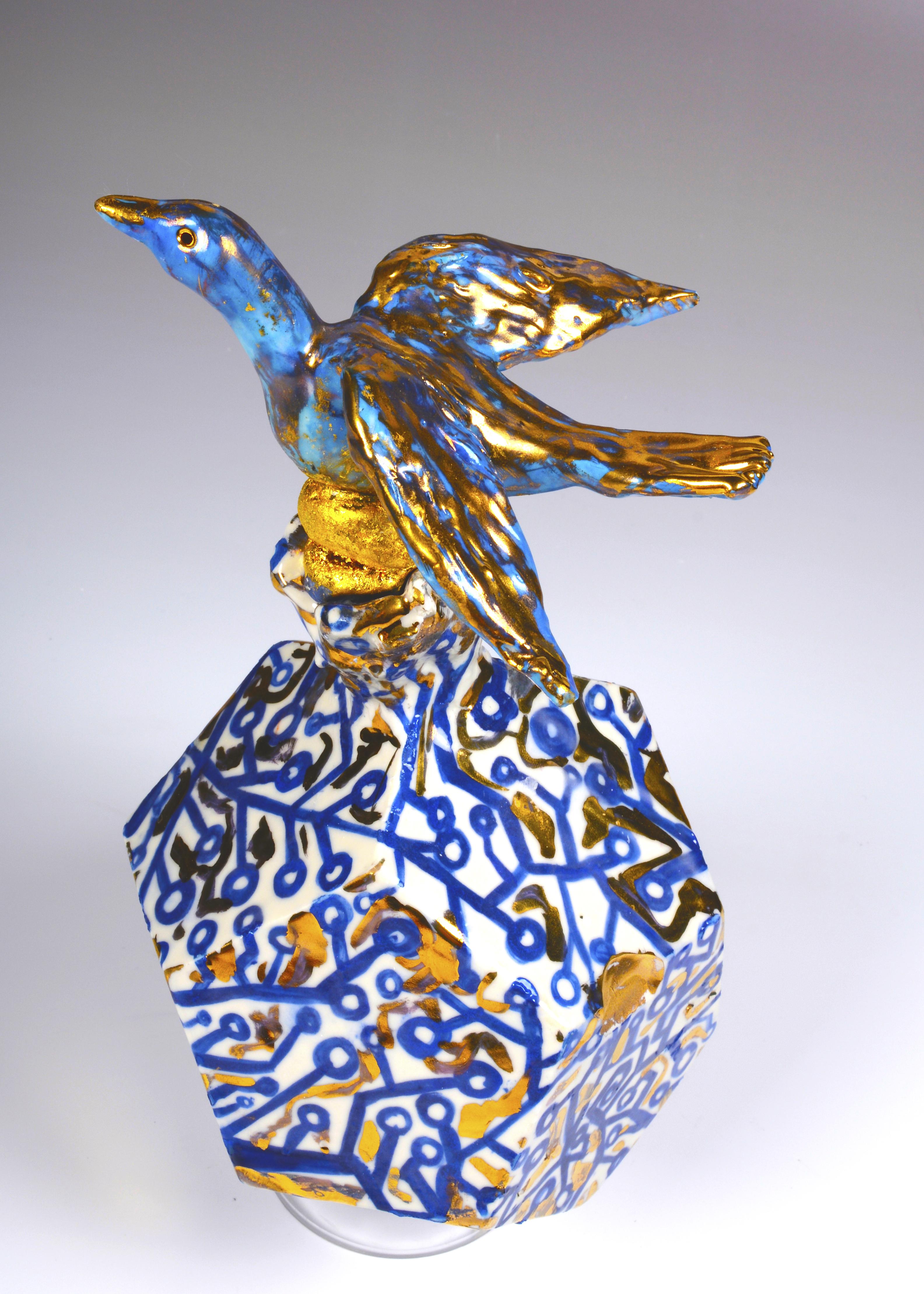 blue bird vase