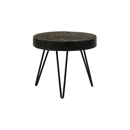 Table d'Appoint JAYAPURA Bois de Pin / Métal Dia 35 x H 29cm Noir