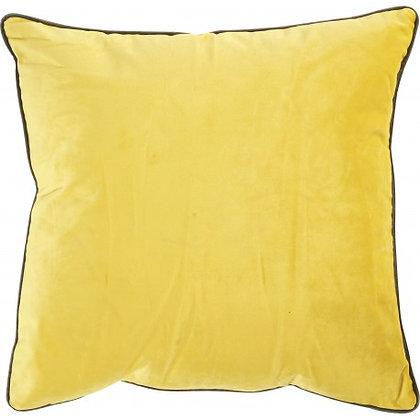 Coussin BESTOUAN Velours Citron/Taupe 45x45cm