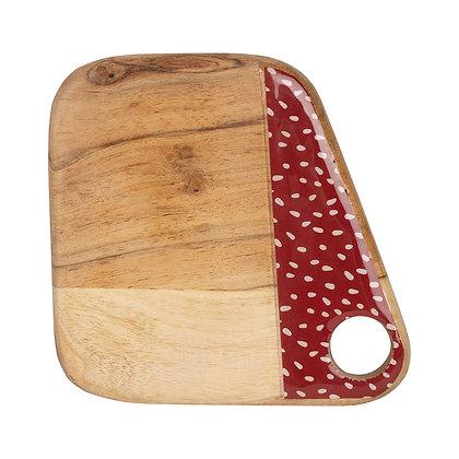 Planche à Découper Point Poule Vintage Naturel,rouge 15x15cm Acacia