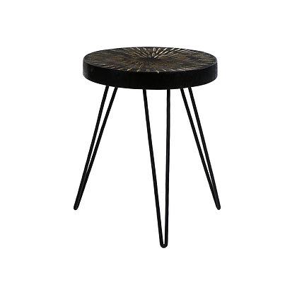 Table d'Appoint JAYAPURA Bois de PIN / Métal Dia 35 x H 44cm Noir