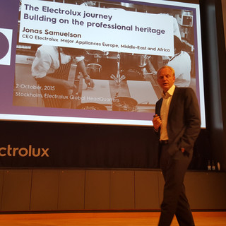 presentation of Jonas Samuelson (Electroulx CEO) at Electrolux Headquarters in Stockholm