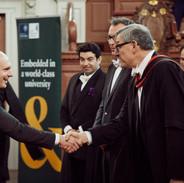Dean Peter Tufano, Professor Bent Flyvbjerg, Professor Atif Ansar, Professor Alex Budzier - Radek Jaros at Sheldonian Theatre, Oxford