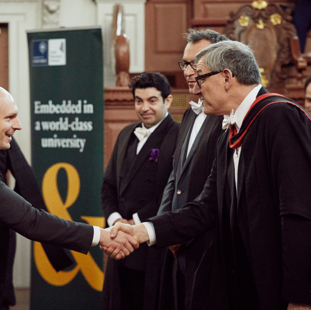 Dean Peter Tufano, Professor Bent Flyvbjerg, Professor Atif Ansar, Professor Alex Budzier - Radek Jaros at Sheldonian Theatre, Oxford