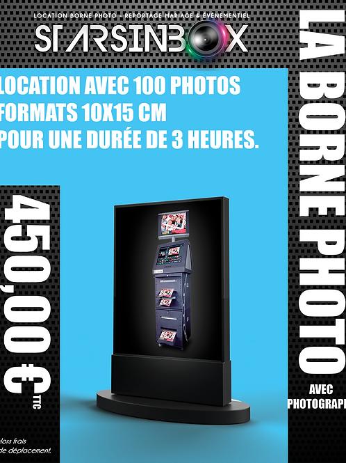 BORNE PHOTO Forfait une animation de 3 heures et 100 photos 10x15cm.