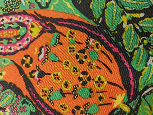 Quilting Cotton - Abstract Print - Orange And Multi