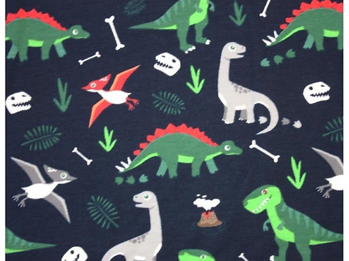 Cotton Jersey - Dinosaur Print  - Navy And Multi