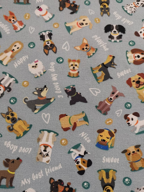 Quilting Cotton - Dog Print pale blue background - Multi