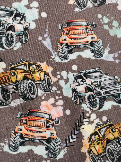 French Terry Fabric - Monster Truck Print