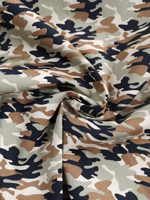 100% Cotton -  Camouflage Print - Tan And Green Mix