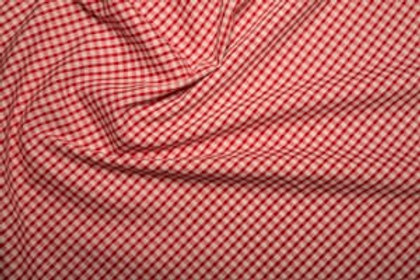 Poly Cotton - Gingham Print - Red And White
