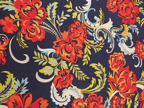Dress Fabric - Viscose Jersey - Floral Print - Navy Blue And Multi