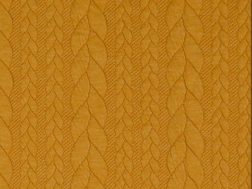 Dress Fabric - Cable Knit Jacquard Fabric - Dark Yellow