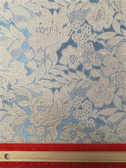 Dress Fabrics -  Poly Cotton Lace - embossed onPale Blue And Cream  - 100/144