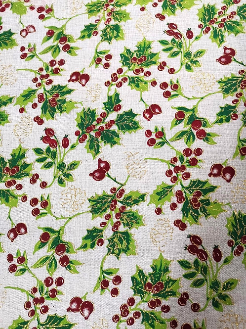 Decor -  Polyester - Holly Print - White And Multi