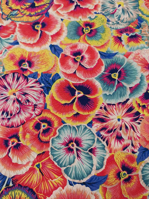 Quilting Cotton - Floral Print - Orange And Multi