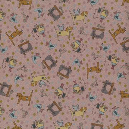 Lecien - One Stitch at a Time - Lynette Andersen - Dog Print Pink - 35072 20