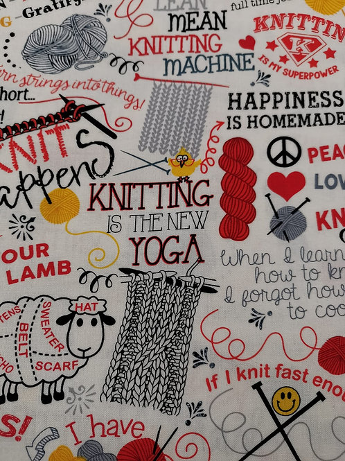 Timeless treasures Gail cotton - Knitting And Sheep Print - White And Multi