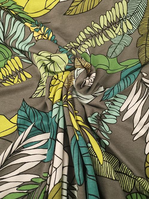 Dress Fabrics - Viscose Jersey - Leaf Print - Grey  and Multi
