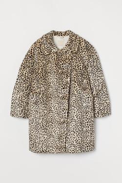 H & M Faux Fur Leopard Print Coat
