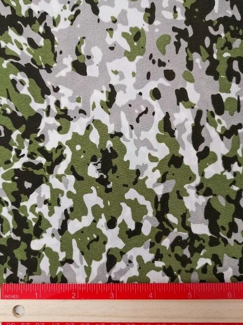 Dress Fabrics -  Polyester Chiffon - Green Camouflage Print  - 100/139