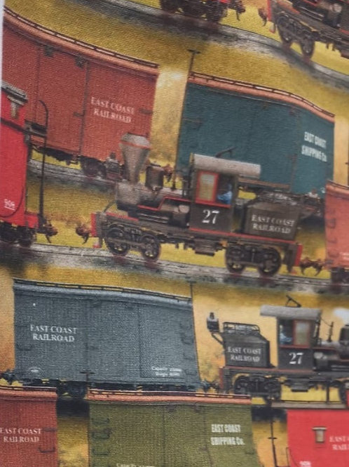 Quilting Cotton - Steam Train Print  - Ochre And Multi