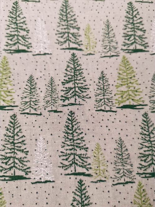 Quilting Cotton - Fern Trees - Beige And Multi - Christmas