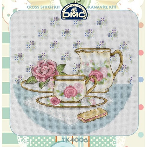 DMC - Cross Stitiching Kit in Tin - Tea And Biscuits Pattern