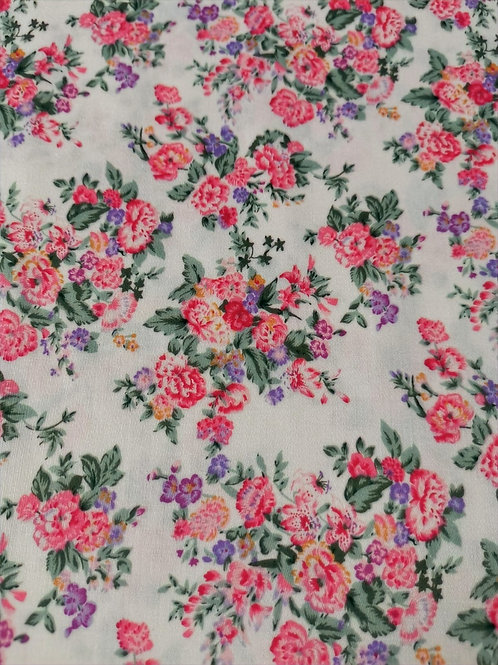 Dress Fabric- 100% Cotton - Floral - White, Pink And Multi