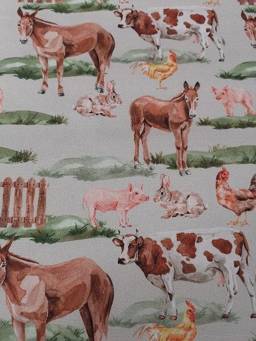 100% Cotton Canvas - Farm Animal Print - Grey  And Multi