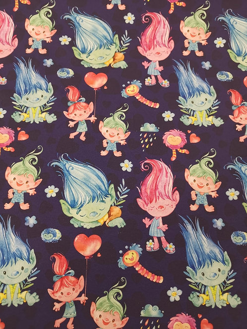 French Terry Loop Back Fabric - Troll Print