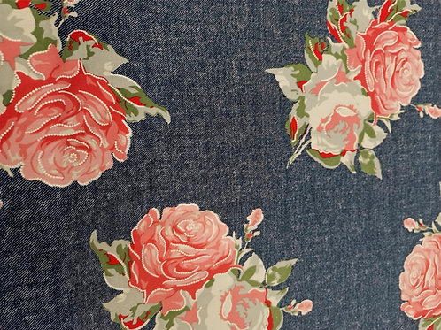 Dress Fabric - Stretch Denim - Rose Print - Navy, Pink And Multi
