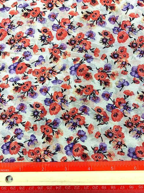 Dress Fabrics - Viscose Chiffon  - Small Red And Blue Floral Print